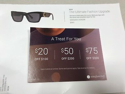graphic about Sunglass Hut Printable Coupons titled SUNGLASS HUT COUPON $75 Off $300 or $50 Off $200 or $20 Off