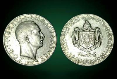 2 FRANGA ARI . SILVER COIN. 25th anniversary of independence . ALBANIA 1937 - 21