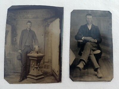 ANTIQUE TIN TYPE PHOTOGRAPH POSSIBLY ONE OF THE WORLD'S TALLEST MAN IN 1800's