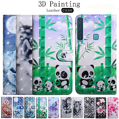 For Samsung Galaxy A6S A9 A7 A8 A6 2018 3D Leather Flip Stand Wallet Case Cover
