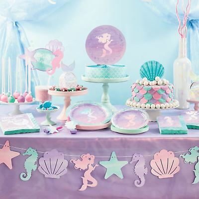 Mermaid Shine Iridescent Birthday Party Girls Tableware Sea Decorations Magical