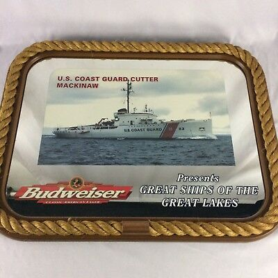 US Coast Guard Cutter Mackinaw Budweiser Great Ships Great Lakes Bar Mirror Beer