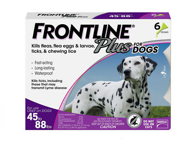 FRONTLINE Plus for Large Dog (45 to 88 lbs) Flea and Tick Treatment, 6 Doses