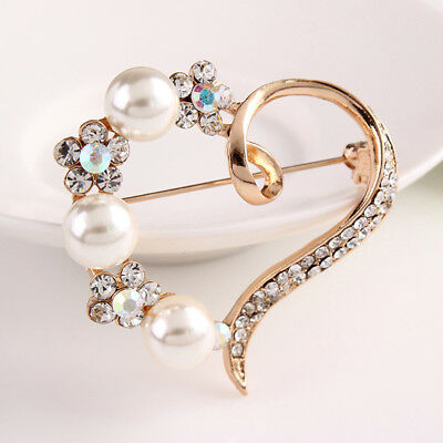 Sparkle Heart Brooch Pin Broaches Rhinestone Simulated Pearl Jewelry 6A
