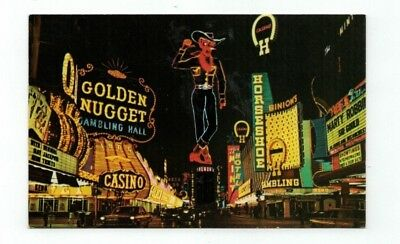 NV Las Vegas Nevada vintage post card view on Fremont Street at night