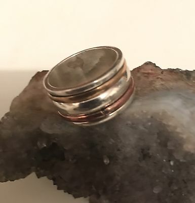 Elegant Spinner Ring 3 Tone Size 6.5 Solid 92.5 Sterling Silver Wide Thick Band