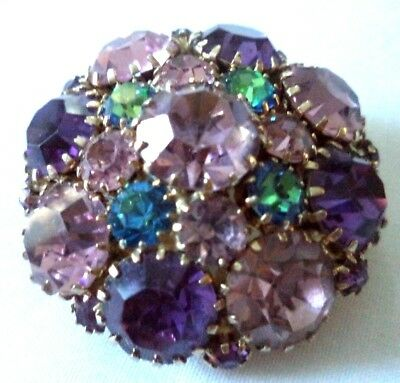 "*rare* Stunning Vintage Estate Signed Weiss Rhinestone Flower 1.5"" Brooch! G290Z"