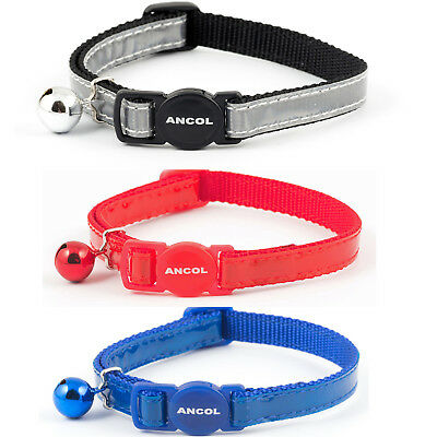 Ancol Gloss Reflective Safety Release Cat Collar & Bell Red/Grey/Blue For Rspca