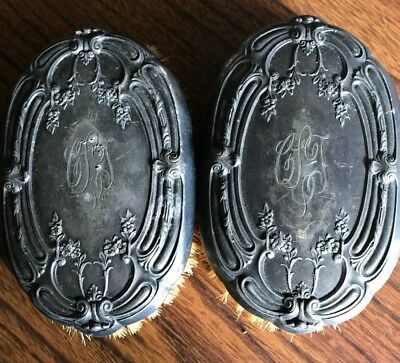 2 Antique Vintage Victorian Brush Silver Plate