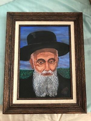 Early 20th C. Jewish Painting Portrait of an Old Rabbi VERY RARE