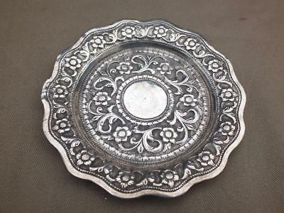 "VINTAGE SOLID INDIAN SILVER ORNATE PIN TRAY 60.77 grams 4 1/2"" diameter"