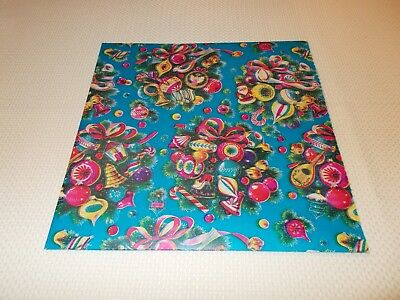 Vtg Christmas Wrapping Paper Gift Wrap 1960 Shiny Brite Ornaments On Blue Nos