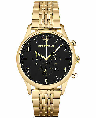 New Emporio Armani Ar1893 Mens Beta Gold Watch - 2 Years Warranty - Certificate