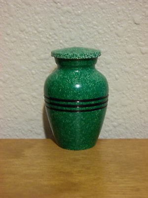 Green Flecked w/3-Ring Band Solid Brass Keepsake Token Mini Urn w/Velvet Bag
