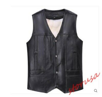 Mens Winter 100% Real Sheepskin Leather Warm Vest Thick Fleece Lining Waistcoats