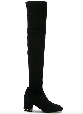 bff9cf5749c NIB Valentino Rockstud Leather Suede Studded Black Over The Knee Boots 40   1895