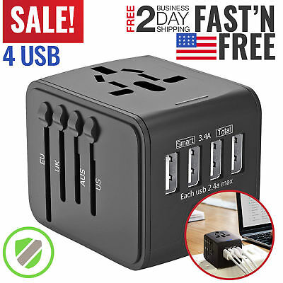 Universal Travel Adapter 4 USB International Power European Outlet Plug EU to US