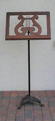 Antique Oak Wood Sheet Music Stand With Black Cast Iron Tripod Claw Foot Base
