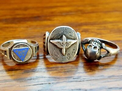 Lot of 3 Old Vtg Sterling Silver Rings US Army Air Force Skull Sizes 5.5 - 6