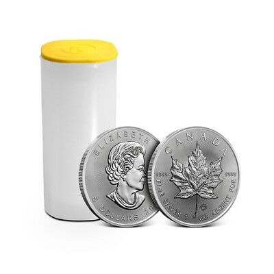 Roll/Tube of 25 - 2019 Canada 1 Oz $5 Silver Maple Leaf Coin .9999 Fine Gem BU