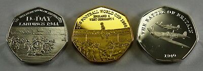 3 Commemorative Coins D-Day, Battle of Britain, 66 World Cup 50p Collectors Gold