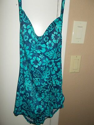 beb2f95d46e21 VINTAGE MAXINE OF Hollywood Women s Size 12 Swimsuit Blue Green ...