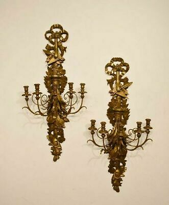 Antique Pair of Large Louis XVI Style Wall Carved and Gilded Sconces