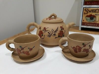 Fine Chinese Teapot Set - Pottery - Signed - calligraphy- bamboo - flowers