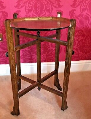 Revertable - Antique Vintage -  Folding Oak Table With Solid Brass Tray Top