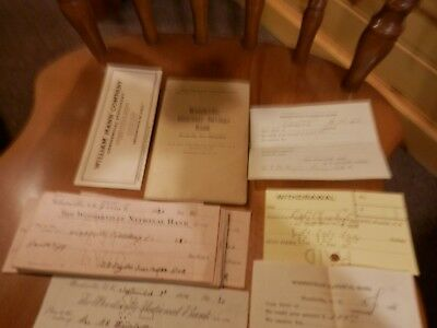 Woodsville National Bank, 1920's receipt's, ink blotter, bank book.