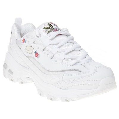 NEW WOMENS SKECHERS White Pink D'lites Leather Trainers
