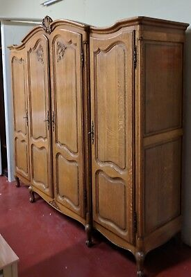 Fresh from France: Vintage French Louis XV 4 Door OAK Armoire Wardrobe FLAT PACK