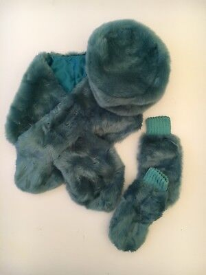 Aqua Blue Green Faux Fur Scarf Stole, Cossack Hat And Mittens Set Turquoise