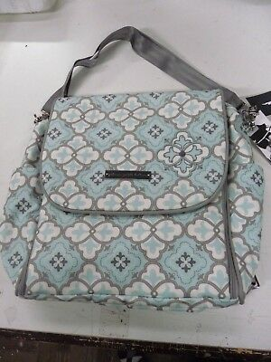 Petunia Pickle bottom Boxy Backpack gray mint  diaper bag READ DESCRIPTION