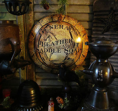 Primitive Antique Style General Leather Saddle Soap Dome Metal Sign Gift Idea