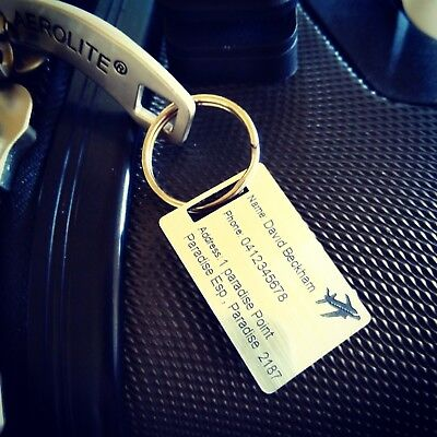 X 2 Luggag Tag Personalised engraved text Travel Accessory Gift LGE 50mm X 80mm