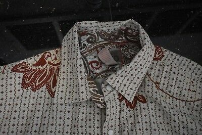 """""""Vintage Red"""" Western Shirt, Pearl Capped Snapped, Embroidered, Men's XL"""
