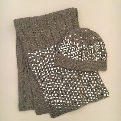 Grey Wool And Silver Sequin Scarf And Hat Set Ladies