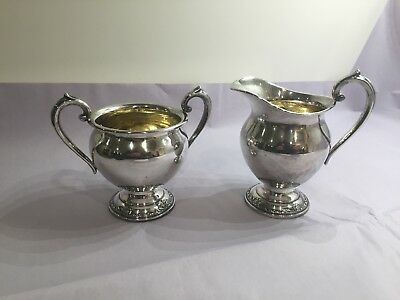 Damask Rose Heirloom Sterling Silver Sugar Bowl & Creamer Set 609