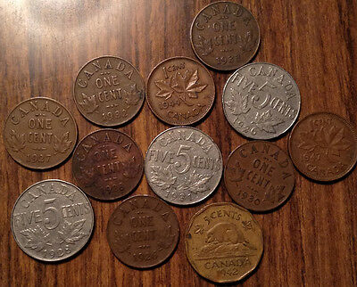 Lot Of 12 Canada Small Cents And 5 Cents Including Both 1926 Key Coin