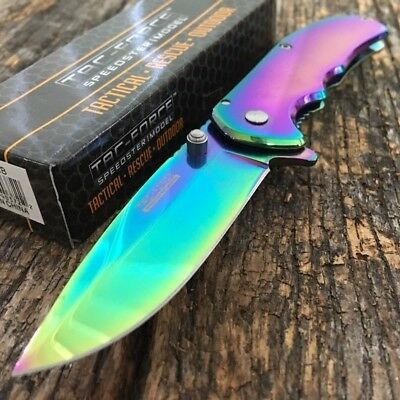 "7"" TAC FORCE RAINBOW SPRING ASSISTED FOLDING KNIFE Blade Pocket Tactical Switch"