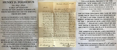 1830/40s SURROGATE MONMOUTH COUNTY NEW JERSEY POLHEMUS LETTER SIGNED FREEHOLD VF