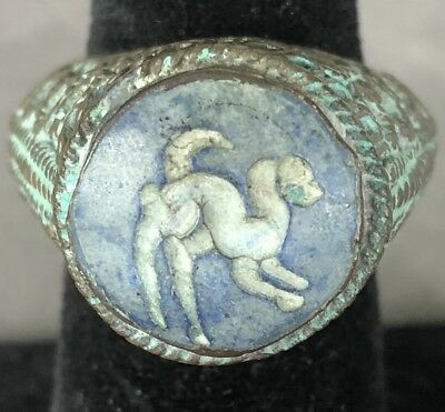 Ancient VIKING Ring With Stone & Animal Fine artifact EXTREMELY RARE