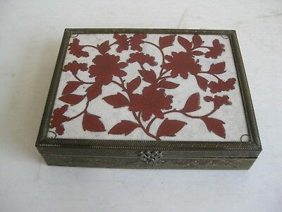 Fine Old Antique Chinese Cloisonne Enamel Bronze Stash Trinket Wood Lined Box