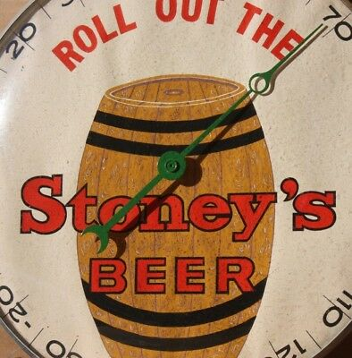 *PAM CLOCK CO. Mfg.* Rare Stoney's Beer Thermometer Glass & Metal Sign Barrel