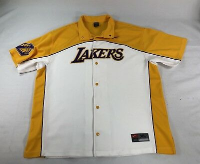 VTG NIKE LOS Angeles LA Lakers Button Warm Up Pants   Jacket  57 NBA ... ce48f1c66