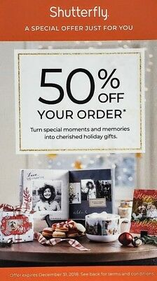 Shutterfly 50% Off Regular Priced Order Coupon Exp 12/31/2018
