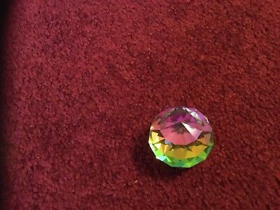 Swarovski Crystal Small/Medium Round Ball Paperweight Rainbow Affect in Light
