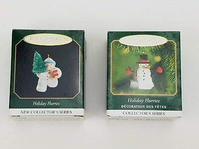 Hallmark Holiday Flurries Miniature Series Snowman Christmas Ornament Lot of 2