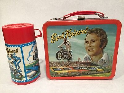 Evel Knievel metal lunch box with thermos 1974